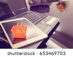 small orange plastic basket on... | Shutterstock . vector #653469703