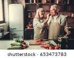 beautiful senior couple in... | Shutterstock . vector #653473783