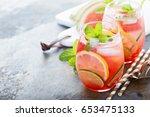 summer refreshing cocktails...   Shutterstock . vector #653475133