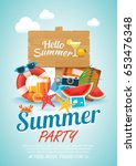 summer beach party invitation... | Shutterstock .eps vector #653476348
