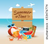 summer time background banner... | Shutterstock .eps vector #653476774