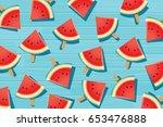 watermelon slice on blue wooden.... | Shutterstock .eps vector #653476888