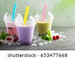 variety of bubble tea in... | Shutterstock . vector #653477668