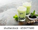 matcha bubble tea with tapioca... | Shutterstock . vector #653477680
