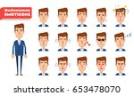 set of businessman emoticons.... | Shutterstock .eps vector #653478070