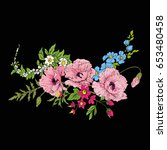 embroidery vintage flowers... | Shutterstock .eps vector #653480458