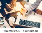 team businessmans job. working... | Shutterstock . vector #653480650