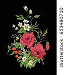 embroidery vintage flowers... | Shutterstock .eps vector #653480710