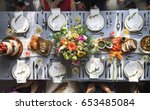 wedding reception table setting ... | Shutterstock . vector #653485084