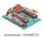 modern industrial ship port and ...   Shutterstock .eps vector #653489173
