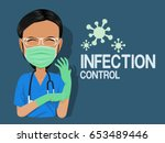 medical staff with the personal ... | Shutterstock .eps vector #653489446