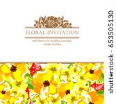 invitation with floral... | Shutterstock .eps vector #653505130