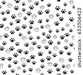 seamless pattern traces of paws | Shutterstock .eps vector #653506423
