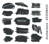 set of black ink brush strokes... | Shutterstock .eps vector #653508424
