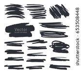 set of black ink brush strokes... | Shutterstock .eps vector #653508448