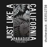 tee print design with palm... | Shutterstock .eps vector #653512738