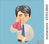 vector   cartoon funny crying... | Shutterstock .eps vector #653513860