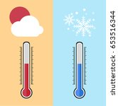 flat design of thermometer... | Shutterstock .eps vector #653516344