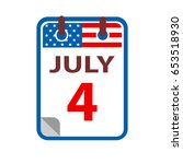 4 july calendar flat icon on... | Shutterstock .eps vector #653518930