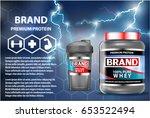 sport nutrition product... | Shutterstock .eps vector #653522494
