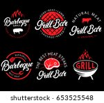 vector set of grill bar and bbq ... | Shutterstock .eps vector #653525548