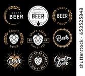 vector set of beer labels in... | Shutterstock .eps vector #653525848