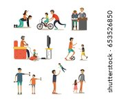 vector flat icons set of father ... | Shutterstock .eps vector #653526850