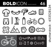 bold line icons  bicycle set... | Shutterstock .eps vector #653528134