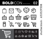 bold line icons  packaging set... | Shutterstock .eps vector #653529508