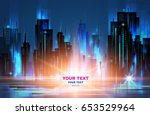 night city background  with... | Shutterstock .eps vector #653529964