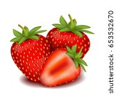 realistic strawberry. summer.... | Shutterstock .eps vector #653532670