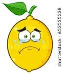 crying yellow lemon fruit... | Shutterstock .eps vector #653535238