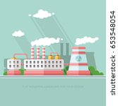 nuclear power plant and factory.... | Shutterstock .eps vector #653548054