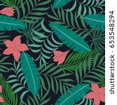 tropical background with palm... | Shutterstock .eps vector #653548294
