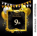 9 years anniversary celebration ... | Shutterstock .eps vector #653553346