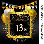 13 years anniversary... | Shutterstock .eps vector #653553829