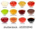 set of different sauces with... | Shutterstock . vector #653553940