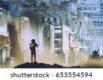 sci fi concept of the traveler... | Shutterstock . vector #653554594