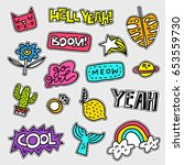 vector patch set   80s 90s... | Shutterstock .eps vector #653559730
