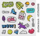 vector patch set   80s 90s... | Shutterstock .eps vector #653560048