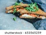 fresh homemade turkey sandwich... | Shutterstock . vector #653565259