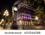 Stock photo steam clock in gastown downtown vancouver british columbia canada 653566588