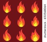 set of fire flame icon with... | Shutterstock .eps vector #653568064
