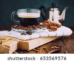 glass cup of hot coffee with... | Shutterstock . vector #653569576