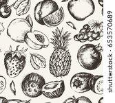seamless pattern fruits  modern ... | Shutterstock . vector #653570689