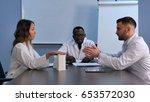 asian female doctor presenting... | Shutterstock . vector #653572030