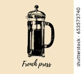 vector french press... | Shutterstock .eps vector #653573740