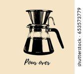 vector pour over coffeemaker... | Shutterstock .eps vector #653573779