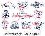vector set fourth of july hand... | Shutterstock .eps vector #653573800