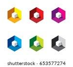 white 3d 3 dimensional cube... | Shutterstock .eps vector #653577274